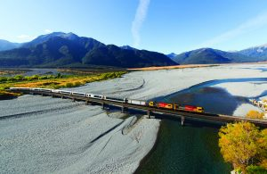 TranzAlpine crosses the Wainmakariri Bridge
