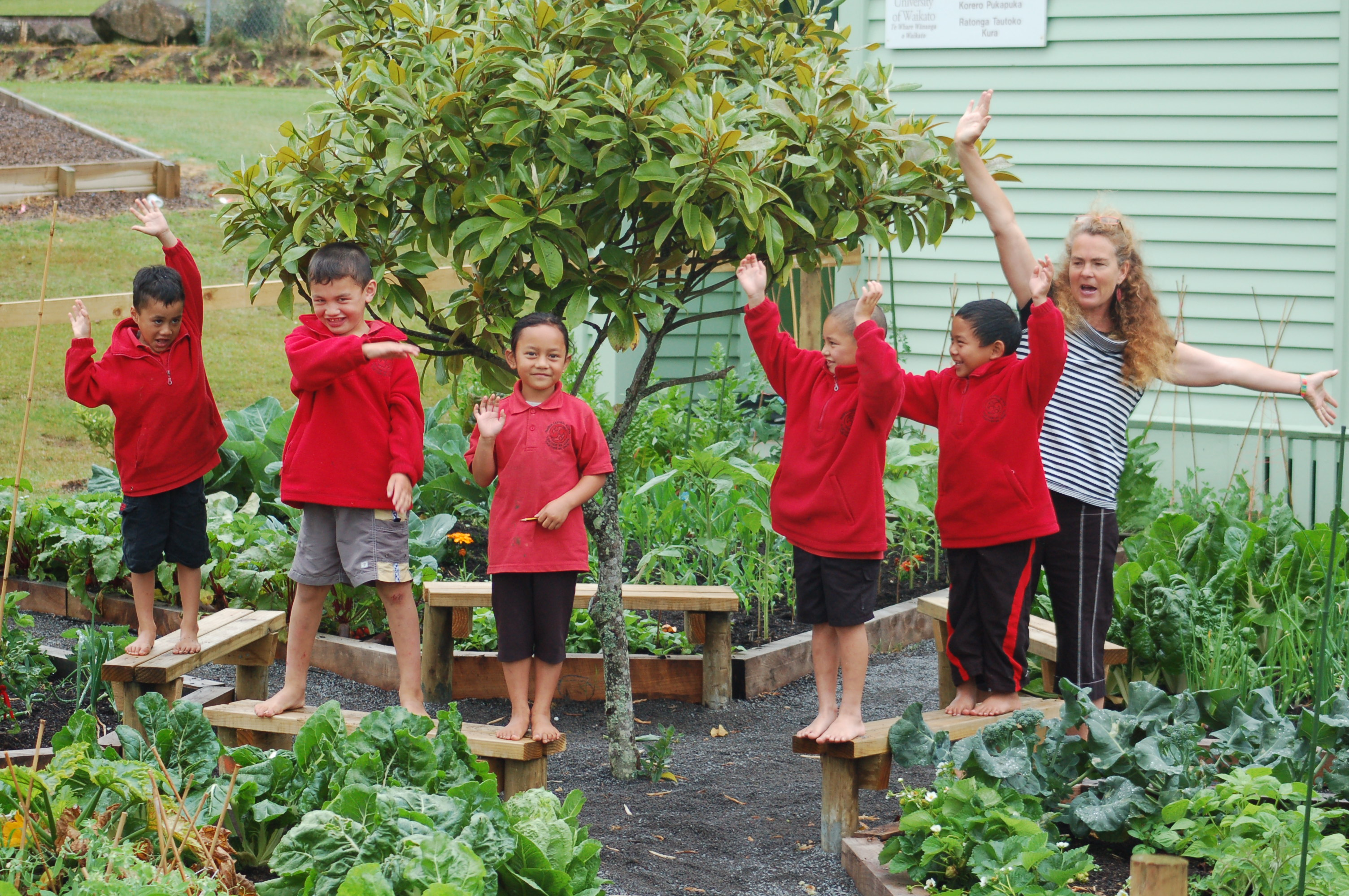 School gardeners at work in the garden