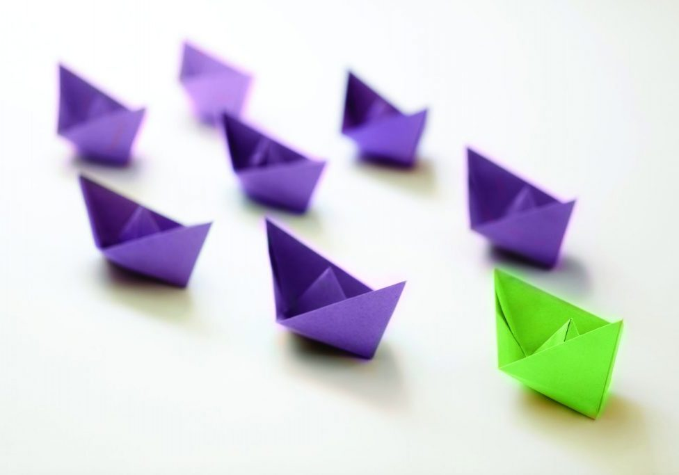 Folded paper boats