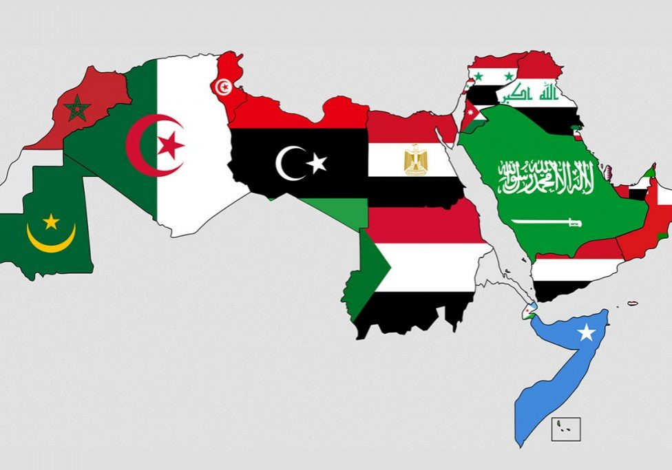 Flags and territories of Arab states.