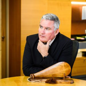 Hon Kelvin Davis in his Beehive office